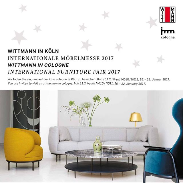 WITTMANN IN COLGNE: You are invited to visit us at the imm in cologne: hall 11.2, booth M010 / N011, 16. – 22. January 2017.#wittmann #jaimehayon #akiagency #interiordesigner #interieurontwerper #architect #interieurarchitect #cologne #vienna #koln #wittmanndealer #hotelinteriordesign #wittmannhayonworkshop #imm AKI AGENCY 0031651561603