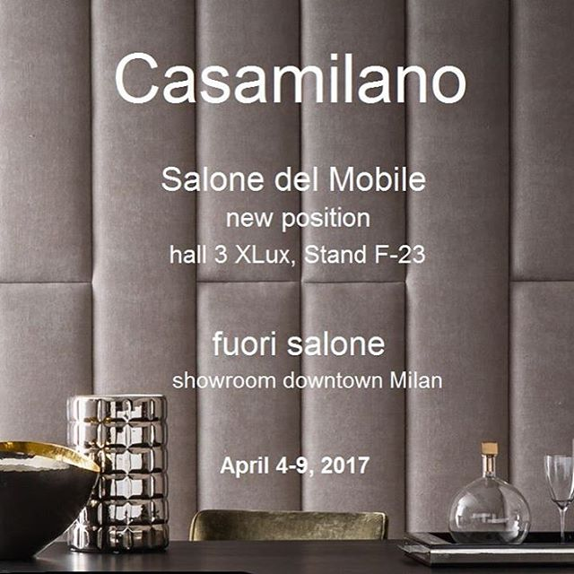 Casamilano Salone del Mobile 2017 SAVE THE DATE Casamilano introduces the 2017 new collection.AKI AGENCY- Casamilano #casamilano #akiagency #salondelmobile2017 #newcollection #milano #italy #interieurdesign #instaliving #luxury #lxry #casamilanodealers #hotelinteriordesign Info@akiagency.nl