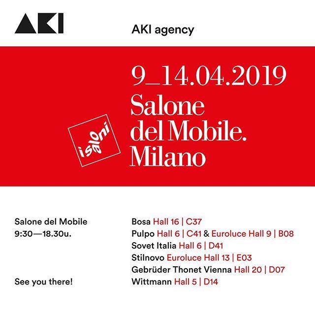 Aanstaande dinsdag is het zover, SALONE DEL MOBILE 2019. We kunnen niet wachten jullie de nieuwe items te laten zien. Voor het gemak hier de locaties van onze merken. We hebben er zin in. Tot volgende week!Anno0031-651561603#salonedelmobile2019 #isaloni2019 #akiagency #locatie #milano #italy #milano #collection #bosaceramiche #gtv #sovetitalia #wittmann #stilnovo #pulpoproducts